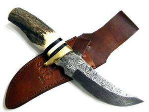 10Custom Bowie Deer Stag Damascus Hunting Knife 2847DB