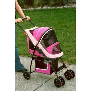 DOG CAT PET GEAR SPORT STROLLER 20 LBS PINK WALK YOUR PET