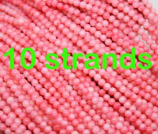 wholesale lot 10strands 3.5mm pink coral round beads