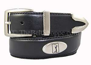 PGA Tour Mens Black Leather Concho Golf Belt   Sizes 34   44 (New w