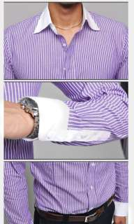 Fashion SlimFit Luxury Stylish Strip Dress Shirts BLUE,,PURPLE
