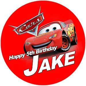 Personalised Disney Cars 7.5 Edible Icing Cake Topper