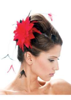 Sexy Black and Red Feather Flower Hair Clip, a Jewelry Costume at