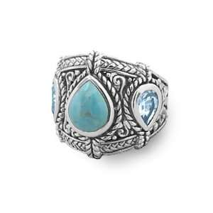 Blue Topaz Ring Sterling Silver Graduated Band Antique Finish Jewelry