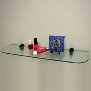Clear Tempered Glass Shelf with Black Brackets