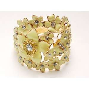 Butterfly Love Flower Cluster Clear Crystal Bangle Bracelet Jewelry