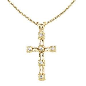 14K Yellow Gold Diamond Cross Pendant with 18 Chain Jewelry