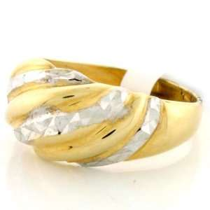 14K Solid Gold Two Tone Diamond Cut Dome Ring Jewelry