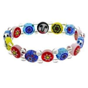 Color Murano Glass Millefiori Flower Round Bead Stretch Kid Bracelet