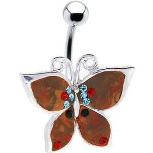 Multi Gem Copper Butterfly Belly Ring Jewelry