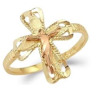 14k Yellow n Rose Two Tone Gold Cross Crucifix Ring Jewelry