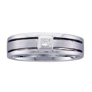 Mens 14k White Gold Princess Diamond Wedding Ring (0.15