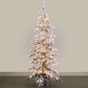 Prelit Flock Alpine Christmas Tree with 300 Clear Lights