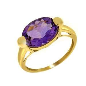 9ct Yellow Gold Amethyst Cocktail Ring Size 7.5 Jewelry