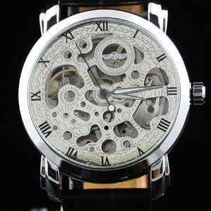 Men Silver Automatic Black Mechanical Skeleton Watch