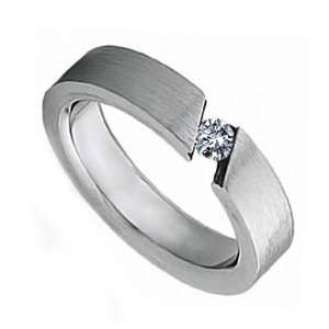 Stainless Steel Contemporary Tension Engagement Ring with Clear CZ