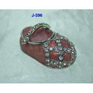 Pink Baby Shoe Jewelry Trinket Box 1.25in H