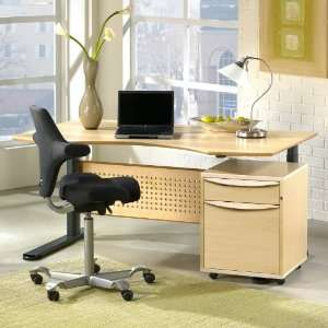 Sit and Stand Height Adjustable Desk   Maple Office