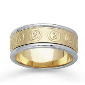 14k Two Tone Gold Yin Yang Hand Carved Wedding Band Jewelry