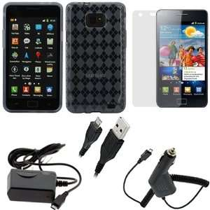 GTMax Smoke Grey Checker TPU Gel Case+Car Charger+Home Travel Charger