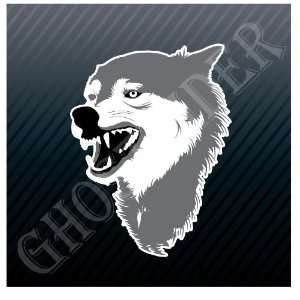 Grey Wolf Head Angry Car Trucks Sticker Decal Everything