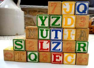 LOT vintage WOODEN TOY BLOCKS alphabet 25 PC★