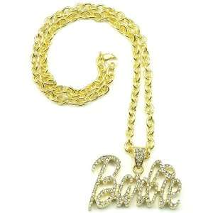Nicki Minaj Barbie Iced Out Pendant Necklace Gold With Gold Lips Small