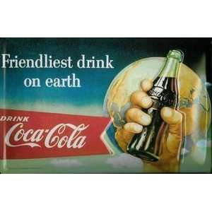 Coca Cola Coke Friendliest Drink steel fridge magnet
