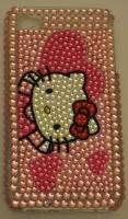 iPhone 4 4s Blink Pink Cute Hello Kitty Crystal case Hearts