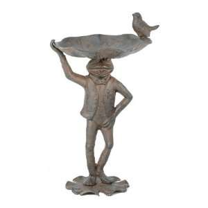 Cast Iron Frog Bird Feeder ~ Garden Statues Patio, Lawn & Garden