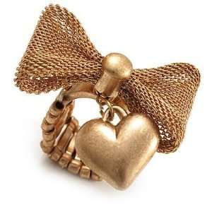 Vintage Mesh Bow & Heart Charm Stretch Ring (Matte Gold Tone) Jewelry