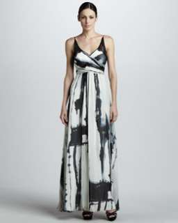T4WZL Nicole Miller Printed Wrap Bodice Gown