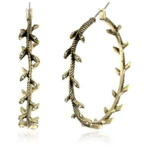 Lucky Brand Metal Gold Tone Pave Leaf Hoop Earrings