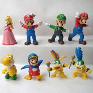 New 8 Super Mario Bros Luigi Action Figures Gift