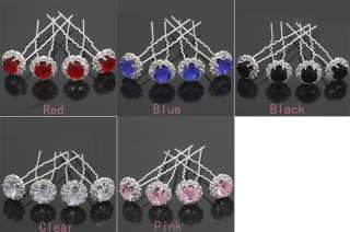 8pcs Bridal Party Wedding Crystal Rhinestone Hair Pins