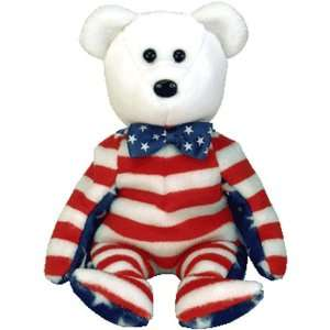 Ty Beanie Babies   Liberty the White Teddy Bear (USA